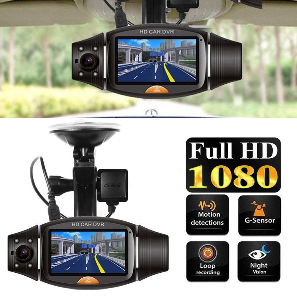 1080P HD Dual Lens 140° Dash Cam Car DVR Video Recorder Camera Front and Rear Kj